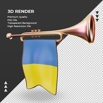 3d trompete bandeira da ucrânia renderizando vista direita
