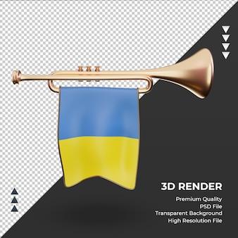 3d trompete, bandeira da ucrânia, renderizando, vista frontal