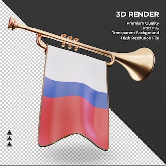 3d trompete bandeira russa renderizando vista esquerda