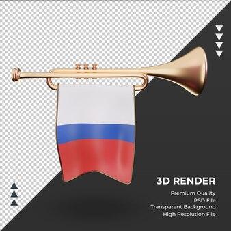3d trompete bandeira russa renderizando vista frontal