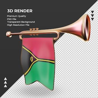 3d trompete bandeira vanuatu renderizando vista direita