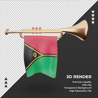3d trompete bandeira vanuatu renderizando vista frontal