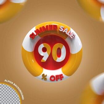 3d verão promoção de oferta de 90 por cento criativo