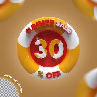 3d verão venda 30 por cento de oferta criativa