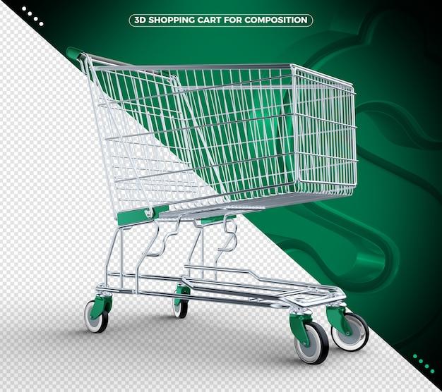 3d verde isolado carrinho de compras isolado