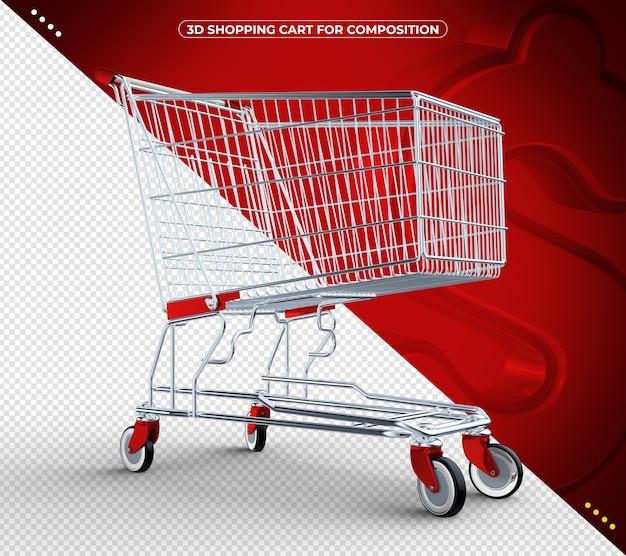 3d vermelho isolado carrinho de compras isolado
