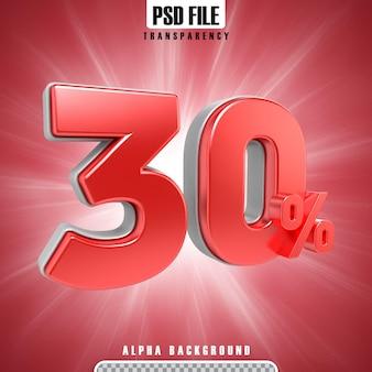 3d vermelho percentagens 30 por cento