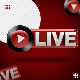 3d youtube música ao vivo ícone preto na frente