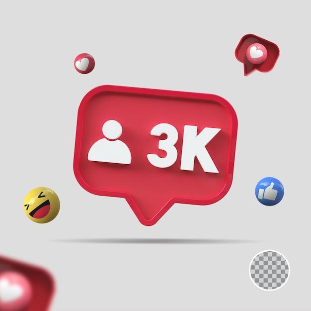 3k seguidores com ícone 3d render