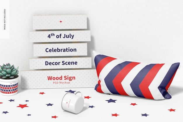 4 de julho - celebração, decoração, cena, maquete, perspectiva
