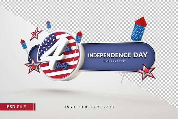 4 de julho, dia da independência, banner 3d isolado