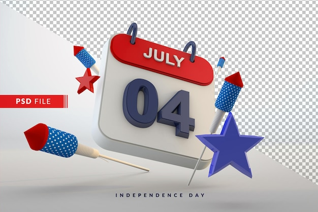 4 de julho, dia da independência, calendário, celebração americana 3d