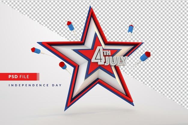 4 de julho, estrela do dia da independência isolado 3d