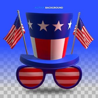 4 de julho. ilustração do dia da independência. ilustração 3d