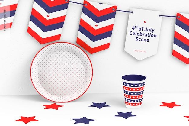 4 de julho - maquete da cena da celebração, vista frontal