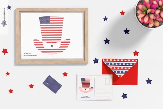 4 de julho - maquete de cena de papelaria de celebração, vista de cima