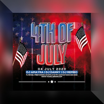 4 de julho panfleto de festa