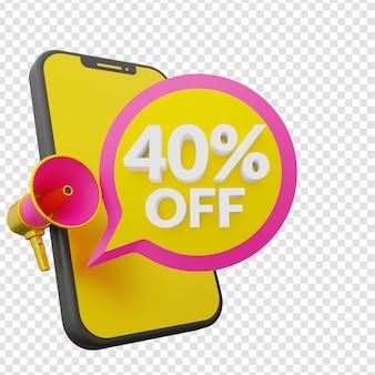 40% de desconto no modelo de banner promocional de venda de verão