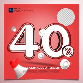 40% de renderização em 3d com cor vermelha com elementos