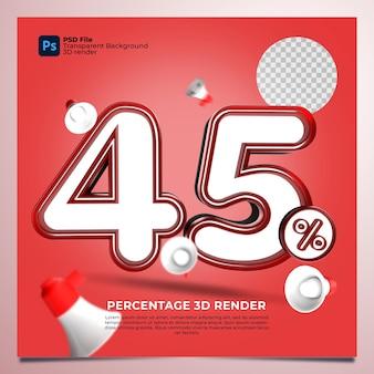 45 porcentagem 3d renderizado com cor vermelha com elementos