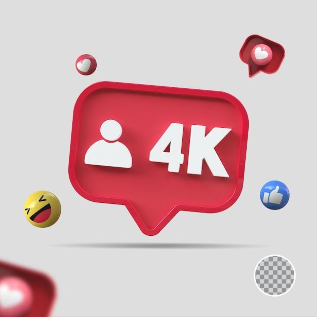 4k seguidores com ícone 3d render