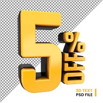 5% de desconto em letras 3d renderizadas nas cores amarela e preta