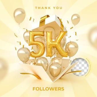 5 mil seguidores com balões de números renderização em 3d