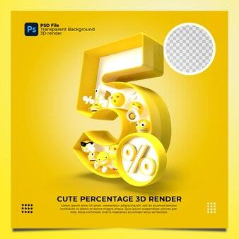 5 por cento 3d renderizado em amarelo com elementos