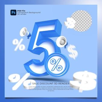 5 porcentagem 3d renderiza cores azuis com elementos