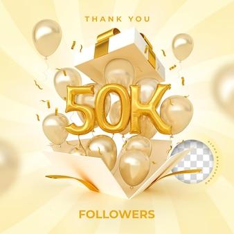50 mil seguidores com balões de números renderização em 3d