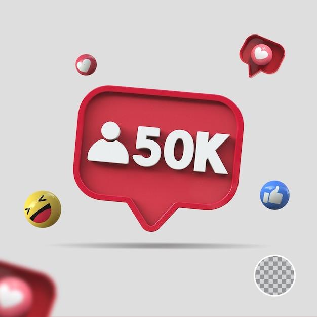 50 mil seguidores com ícone 3d render