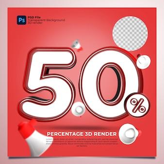 50 por cento 3d renderizado com cor vermelha com elementos