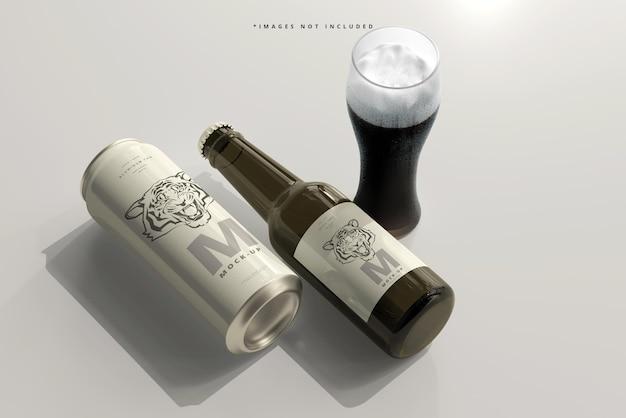 500ml de refrigerante elegante ou lata de cerveja com maquete de garrafa Psd Premium