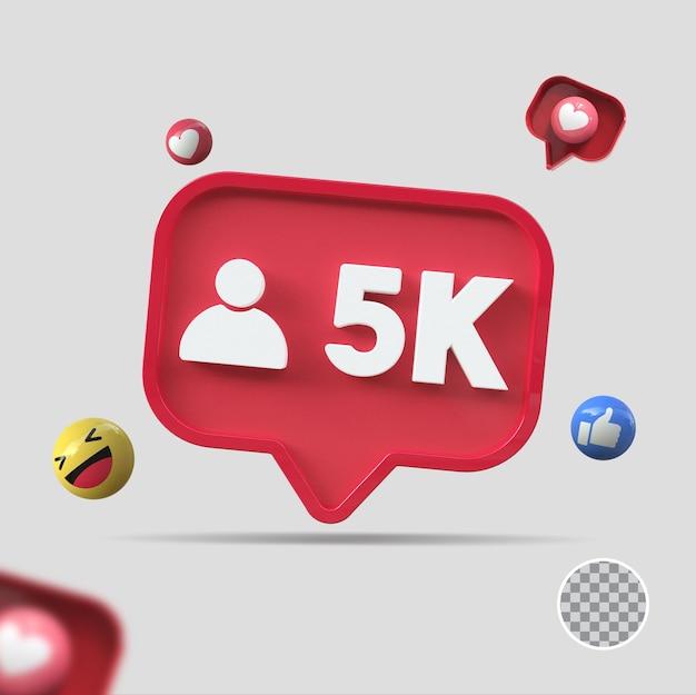 5k seguidores com ícone 3d render