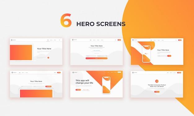 6 telas da web do herói da interface do usuário