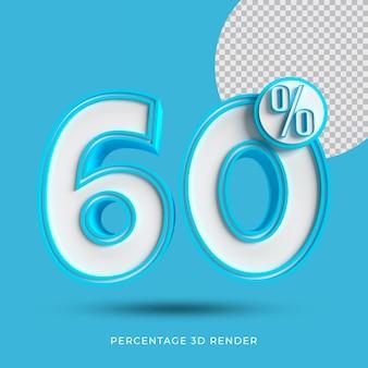 60 por cento 3d renderizar cor azul