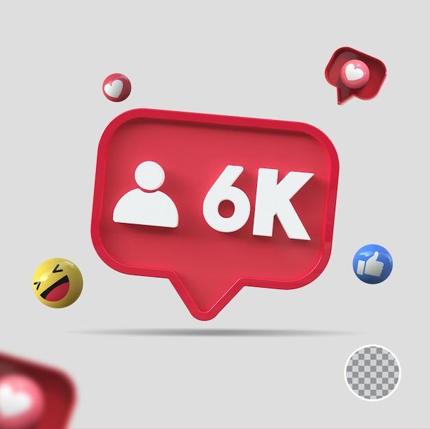 6k seguidores com ícone 3d render