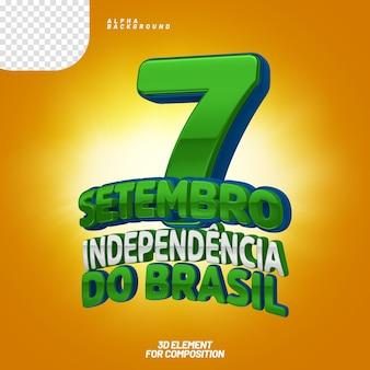 7 de setembro elemento 3d brasil
