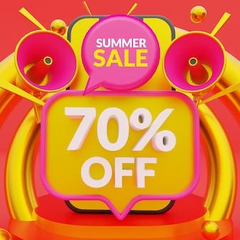 70% de desconto no modelo de banner promocional de venda de verão