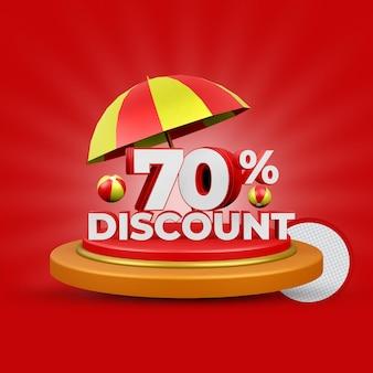 70% de desconto no verão - oferta de renderização em 3d isolada
