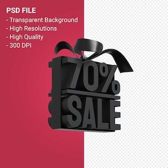 70% de venda com arco e fita com design 3d isolado