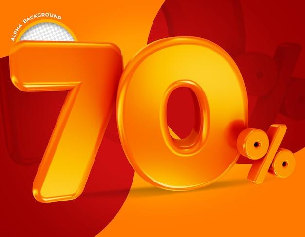 70 por cento da oferta de rótulo renderização em 3d isolada