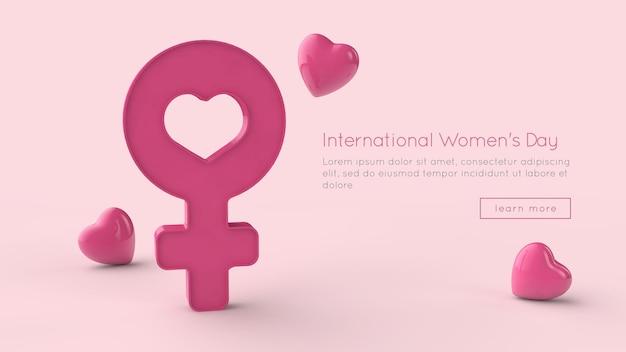 8 de março, dia internacional da mulher, renderização em 3d