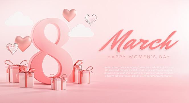 8 de março, feliz dia da mulher, banner com coração de amor