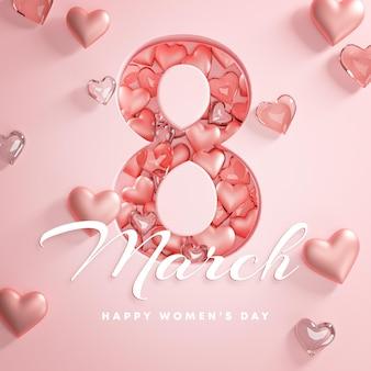 8 de março, feliz dia da mulher, coração de amor