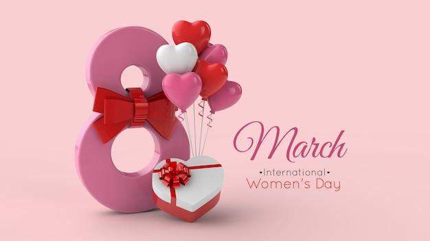 8 de março modelo de renderização em 3d para o dia internacional da mulher