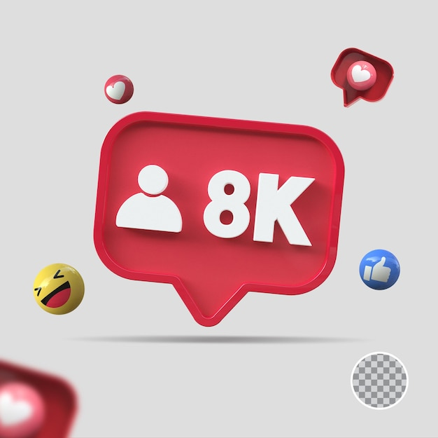 8k seguidores com ícone 3d render