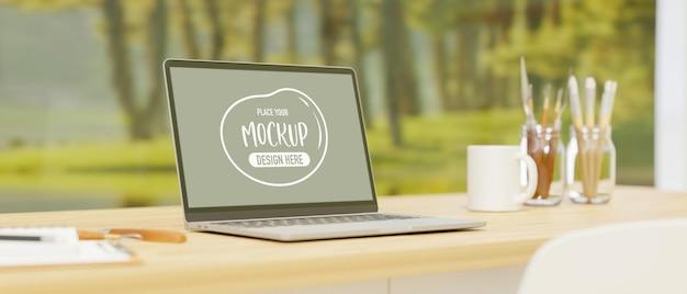 A área de trabalho com laptop fornece ferramentas de pintura na mesa com vista para o jardim e renderização 3d de fundo