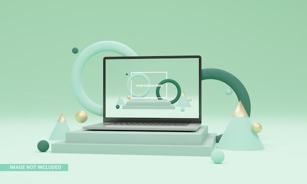 A ilustração 3d render molda a maquete do laptop isométrica