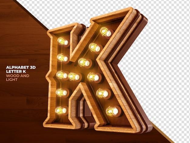 A letra k 3d renderiza madeira com luzes realistas